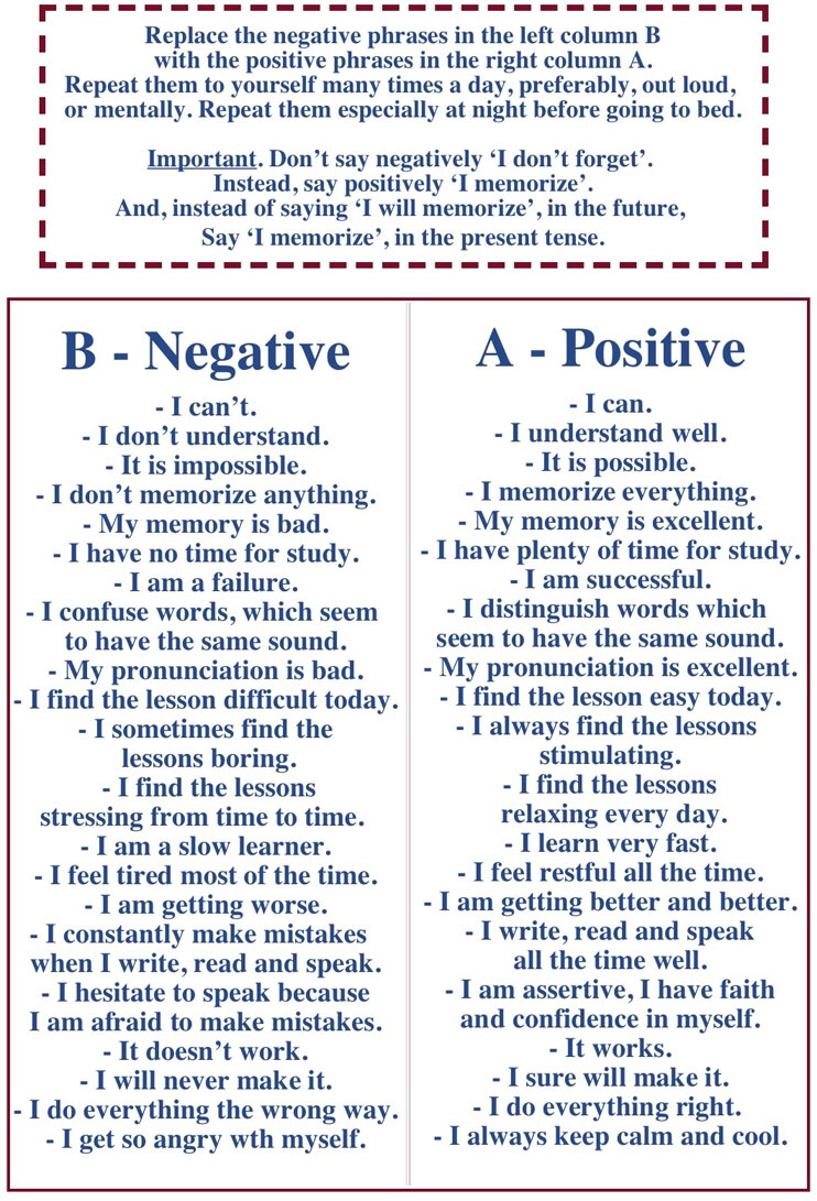 Affirmations in English